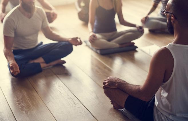 employee yoga at work
